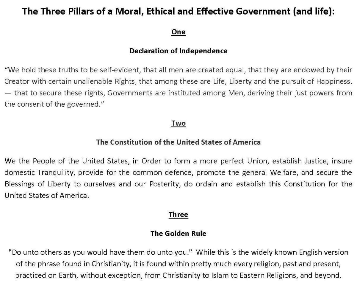 The Three Pillars of a Moral, Ethical and Effective Government (and life)